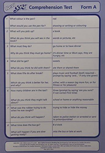 New Salford Sentence Reading Test: Comprehension Cards A